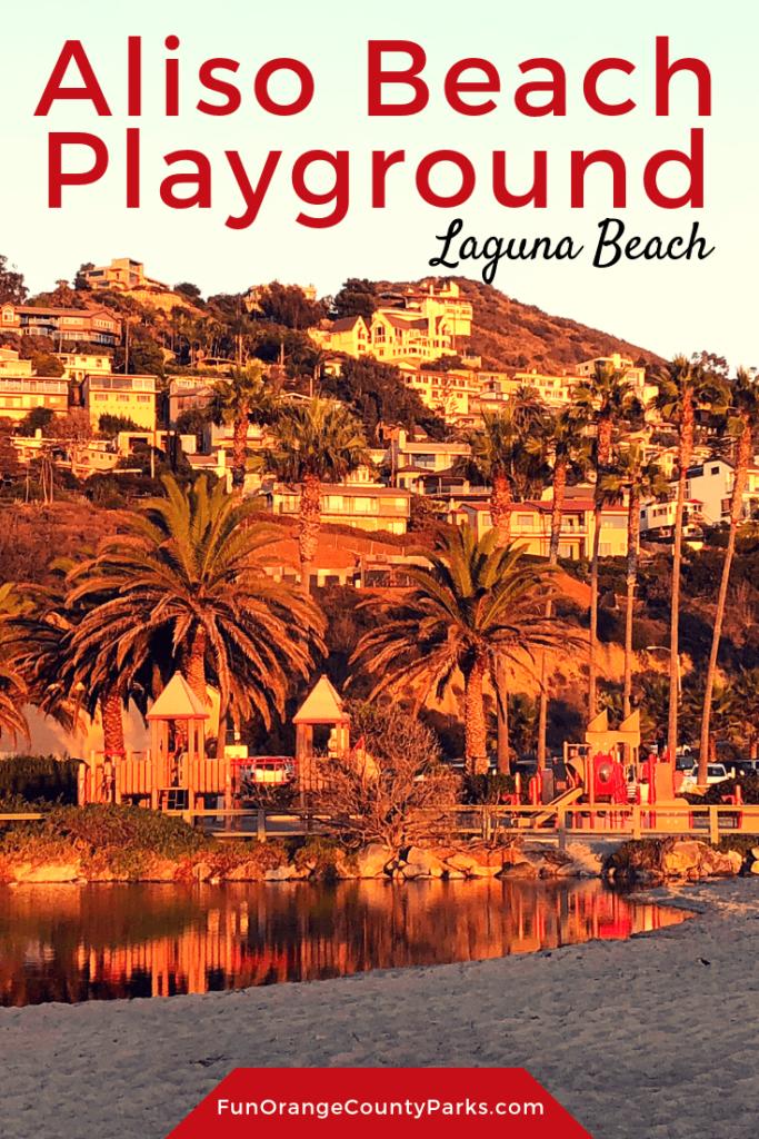 Playground Aliso Beach Park Laguna Beach with lagoon in view