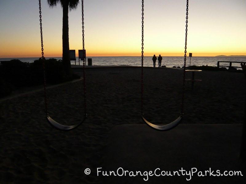 Aliso Beach Park Laguna Beach swings and sunset