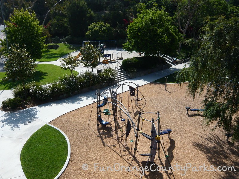 aerial view of playground from top of rocketship play structure