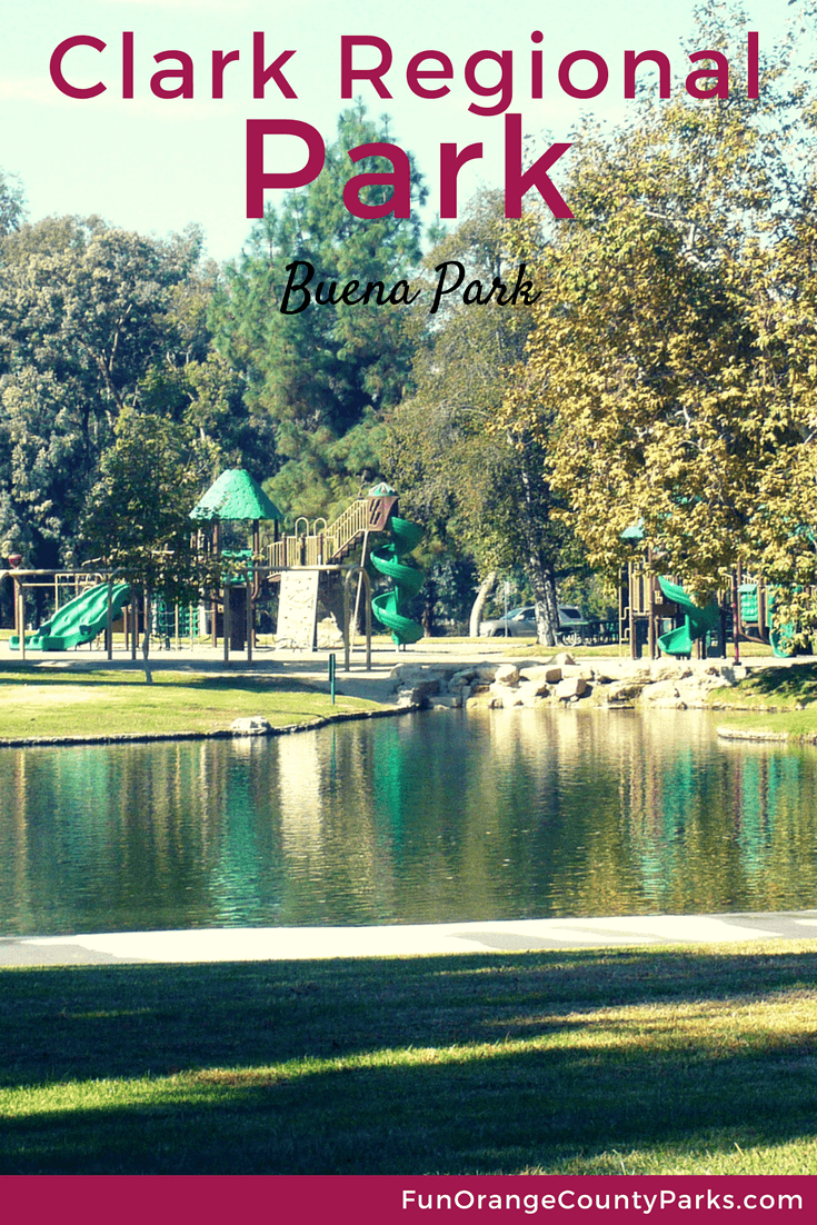 clark regional park buena park - view of playground from the lake