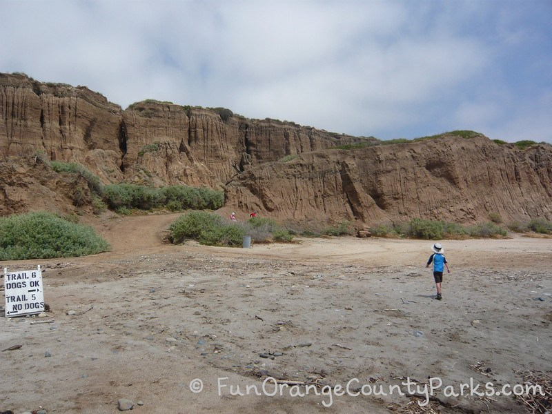 San Onofre bluffs with Trail 5 and Trail 6 signs and small boy in foreground