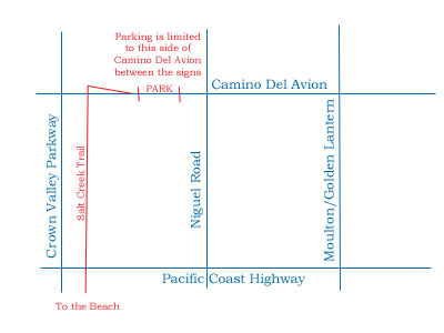 hand drawn map showing parking area along Camino del Avion between Niguel Road on the way to Crown Valley Parkway