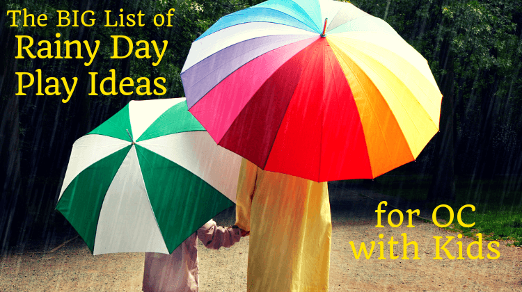 rainy day play ideas orange county parent and child with umbrellas