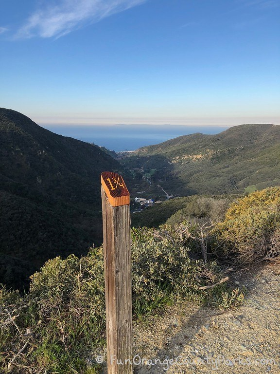 Aliso Summit Trail Laguna Niguel - ocean view and mile marker