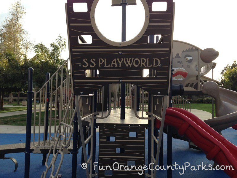 S.S. Playworld pirate ship play structure with a dragon face