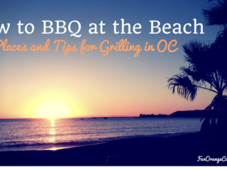 how to barbecue at the beach title with sunset