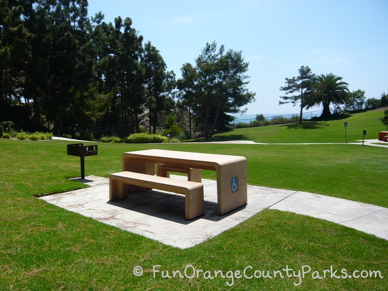 Picnic table and grill at Pines Park overlooking the ocean