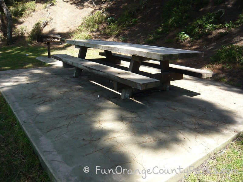 Shaded picnic table and grill at Pines Park in Capo Beach