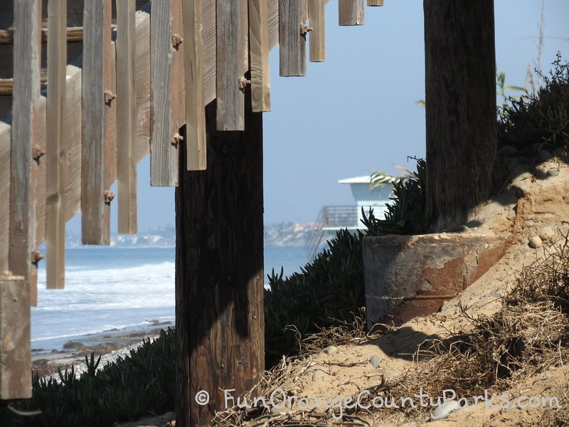 South Carlsbad State Beach stairs with view of lifeguard tower under the stairs