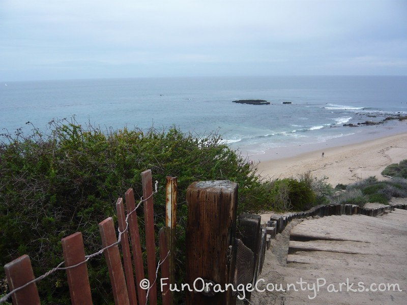 stairs down to Crystal Cove State Beach