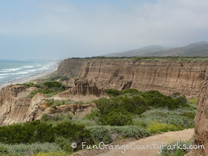 san onofre state beach bluffs with crashing waves