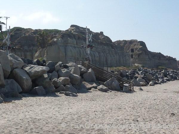 Calafia Beach at San Clemente State Beach - railroad crossing to sand