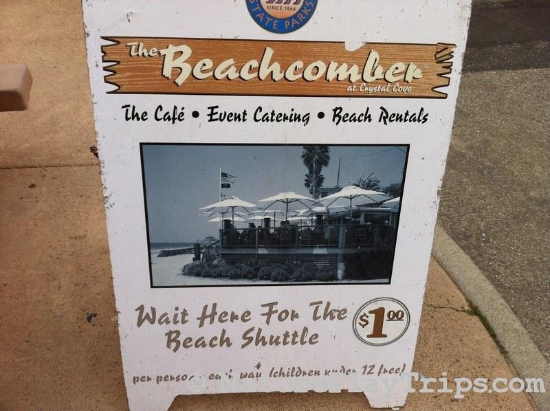 Crystal Cove Historic District via Los Trancos - beachcomber shuttle sign