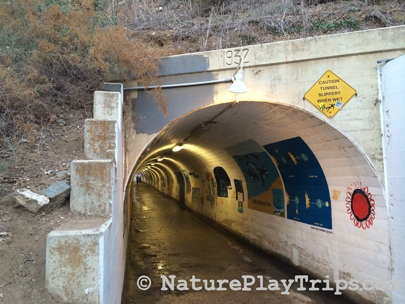 Crystal Cove Historic District via Los Trancos - tunnel under PCH with murals