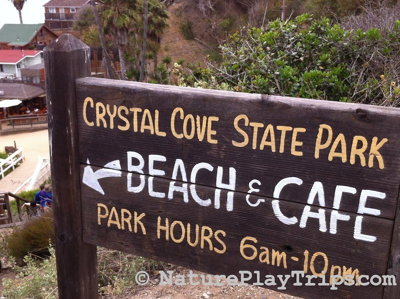 Crystal Cove Historic District via Los Trancos - beach and cafe sign