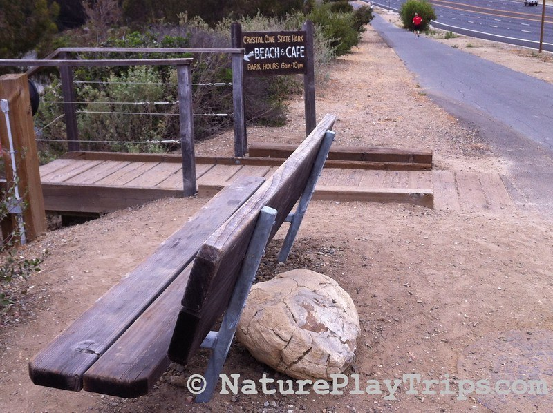 Crystal Cove Historic District via Los Trancos - bench overlooking the historic district