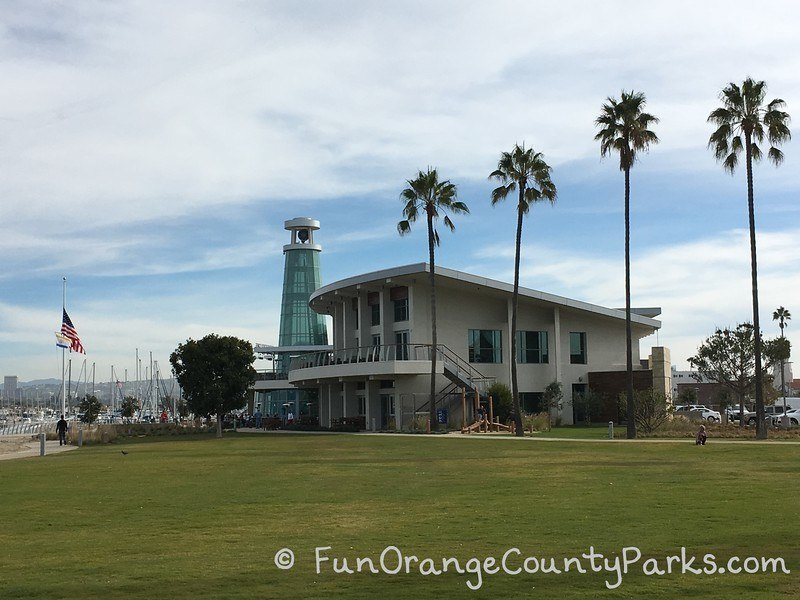 palm trees and Lighthouse restaurant