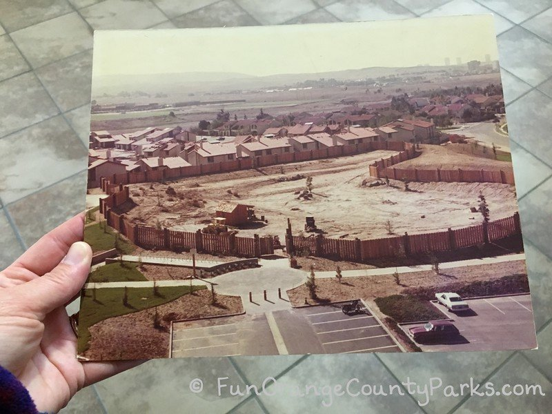 1970s photo of the adventure playground site at time of homes being build in suburbs