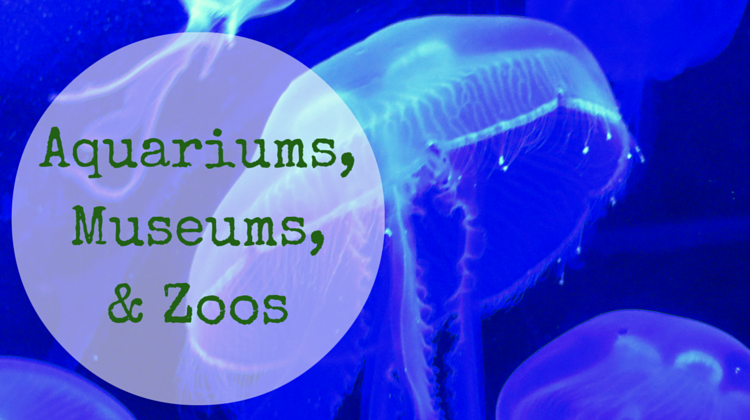 aquariums, museums, zoos
