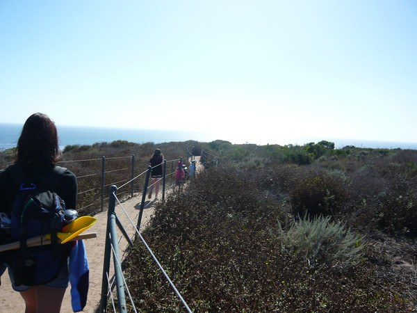 family hiking on the Dana Point Headlands trail
