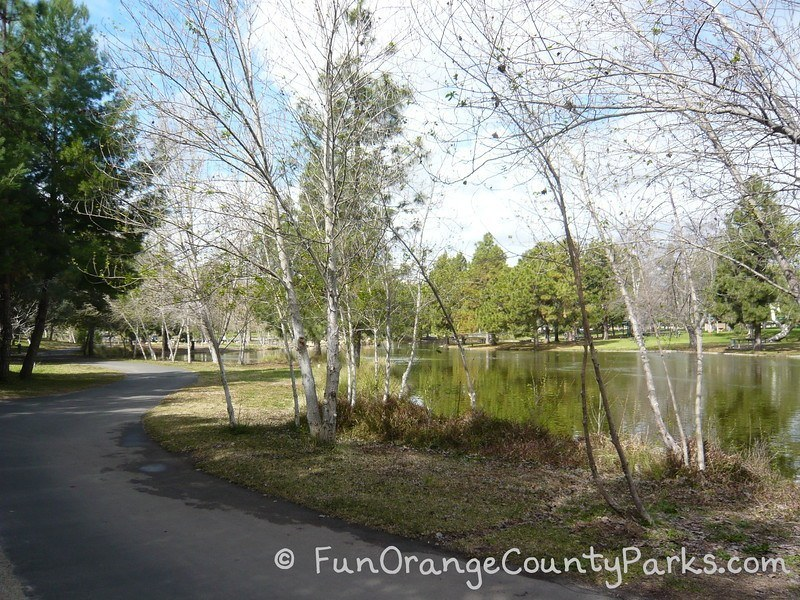 Yorba Regional Park with paved pathway and a fishing lake off the side surrounded by trees