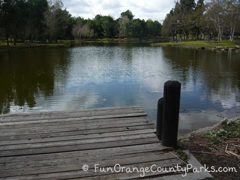 wooden dock at a fishing lake at Yorba Regional Park
