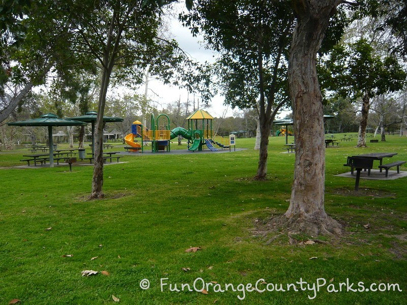 Wide angle view of lawn area with covered picnic tables and grills, a playground and trees at Yorba Regional Park