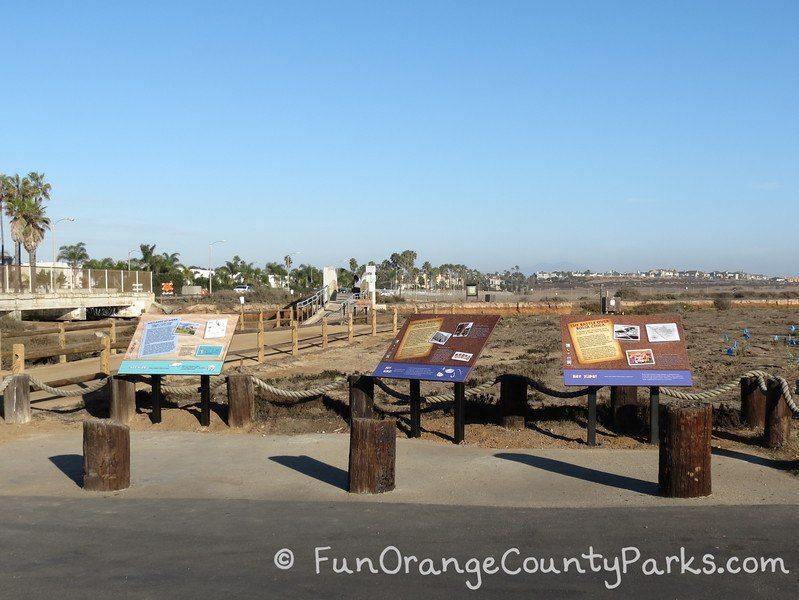 bolsa chica wetlands huntington beach - interpretive signs at trailhead