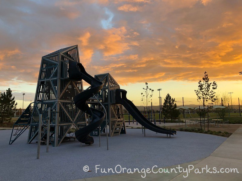 oc great park big play structure at sunset