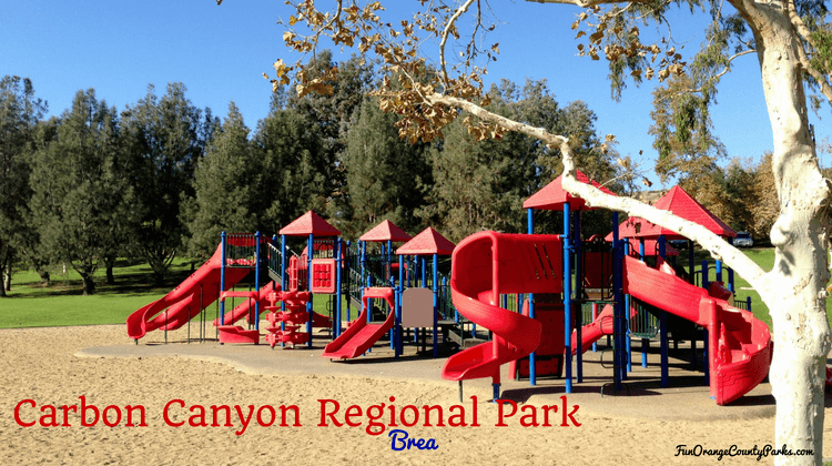 Carbon Canyon Regional Park playground with red slides on massive play structure