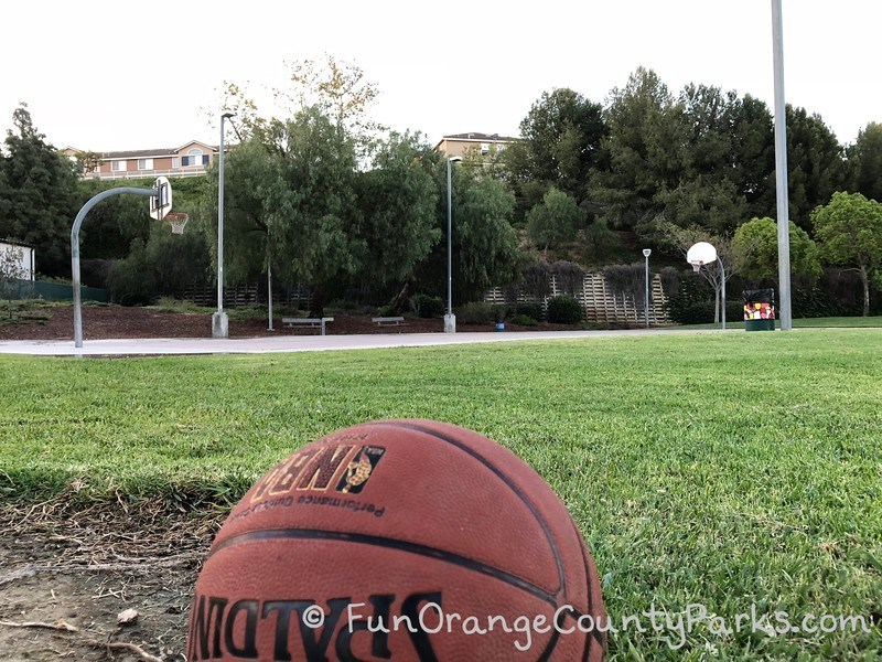 basketball in the foreground and full basketball court past a lawn area