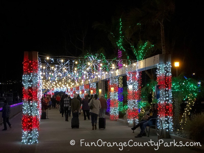 Dana Point holiday lights candy cane walkway