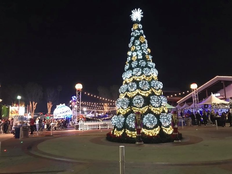 winterfest oc christmas tree decorated in silver and gold