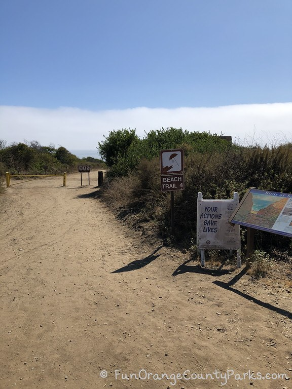 Entrance to San Onofre Beach Trail 4 with signage