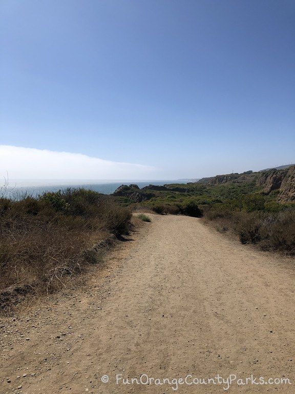Wide dirt trail with ocean in distance