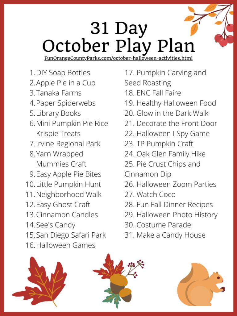31 Day October Halloween Play Plan Printable PDF