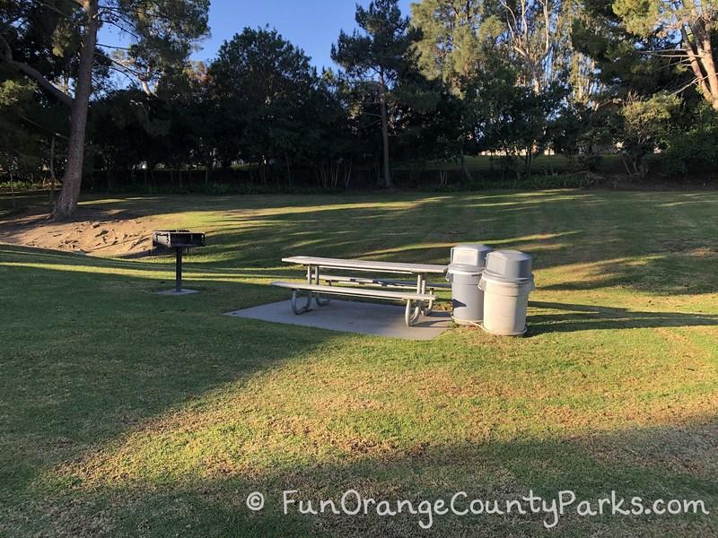 picnic table in grassy area