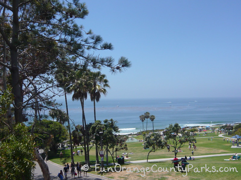 main Salt Creek Beach with views of lawn and people spread out enjoying the day near the beach