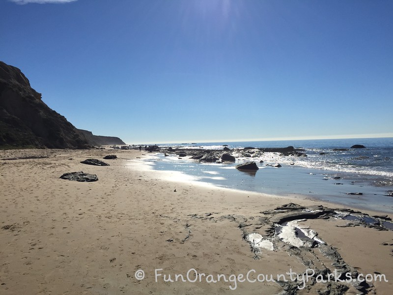 tidal area along the beach with calm waves
