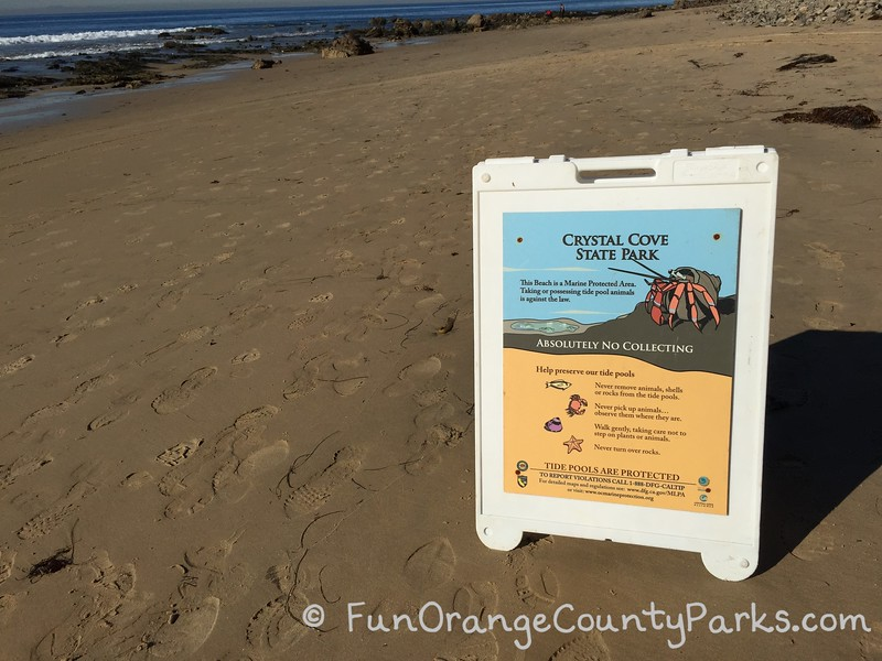 Crystal Cove State Park tide pool sign about not collecting animals or turning over rocks