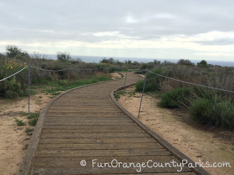 boardwalk winding through the bluff top near pelican point and treasure cove at crystal cove state park