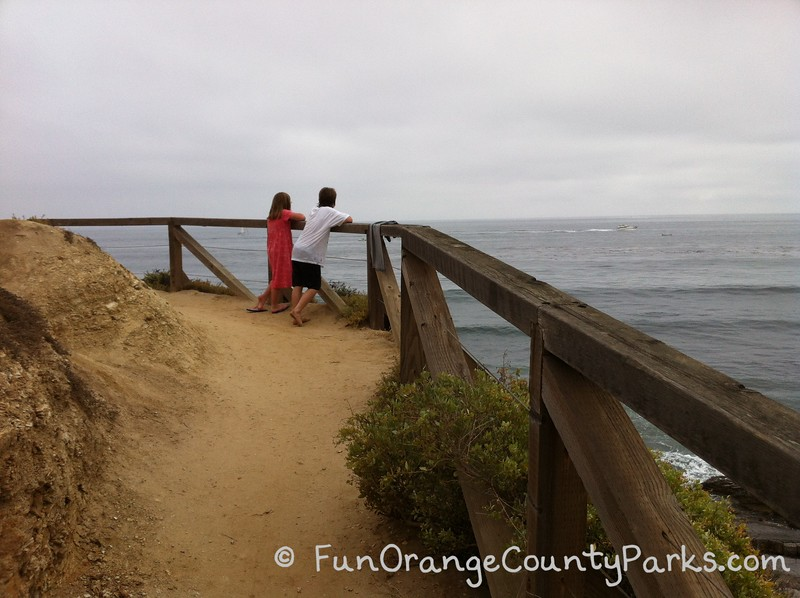 a girl in a pink dress and a boy in shorts with a white tee shirt lean on a wooden railing on a dirt trail overlooking the ocean