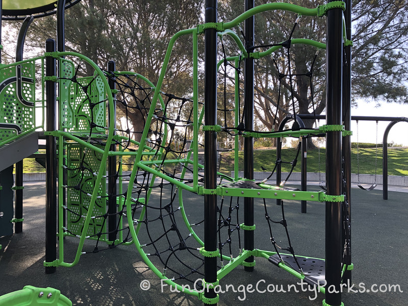 much closer view of the play equipment climbers at Lantern Bay Park in Dana Point