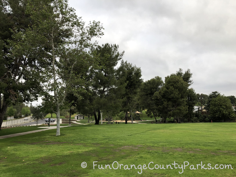 wide view of the big lawn area at Rolling Hills Park in Fullerton